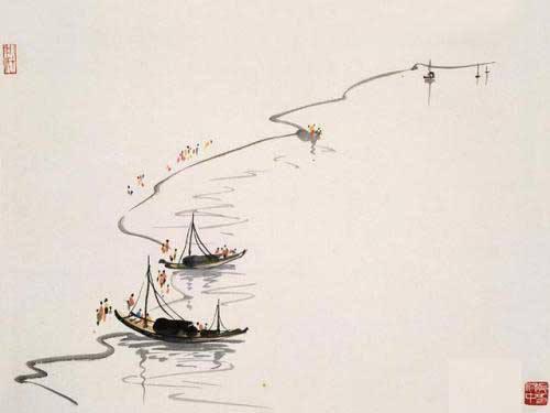 欲去又还不去。明日落花飞絮。飞絮送行舟。水东流。