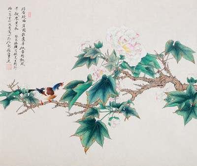 啭枝黄鸟近。隔岸声相应。随意坐莓苔。飘零酒一杯。