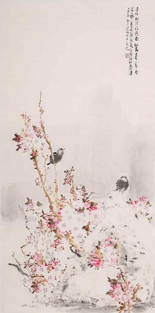 山桃红花满上头,蜀江春水拍山流