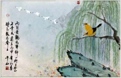 两个黄鹂鸣翠柳,一行白鹭上青天