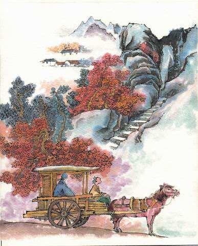 远上寒山石径斜,白云深处有人家。 停车坐爱枫林晚,霜叶红于二月花。